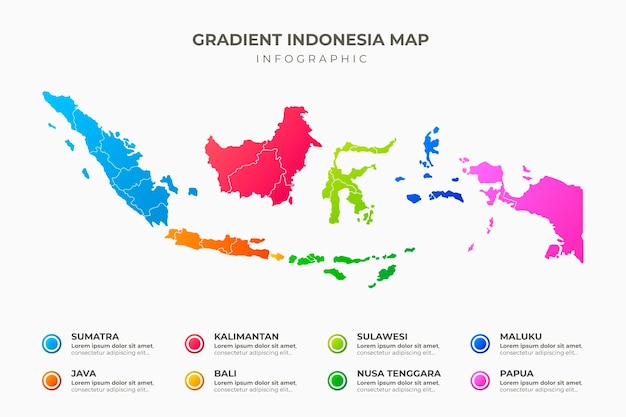 Gradient indonesia map infographic
