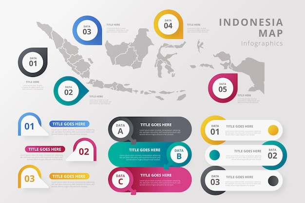 Gradient indonesia map infographics template