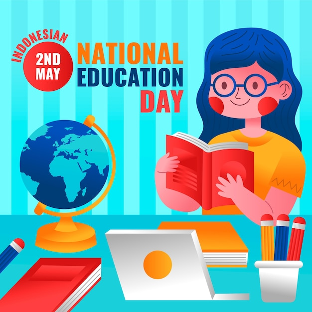 Gradient indonesian national education day illustration
