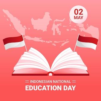 勾配インドネシア国立教育日のイラスト