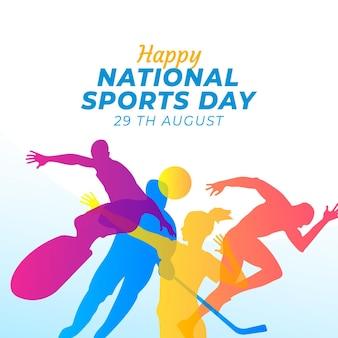 グラデーション インドネシア国民体育の日イラスト