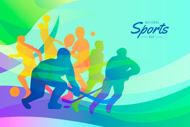 Gradient indonesian national sports day illustration