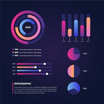 Gradient infographic collection template design