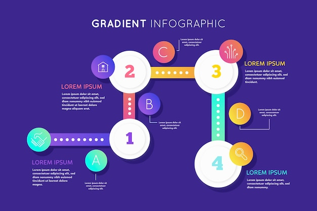 Gradient infographic collection template