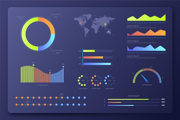 Gradient infographic dashboard elements collection