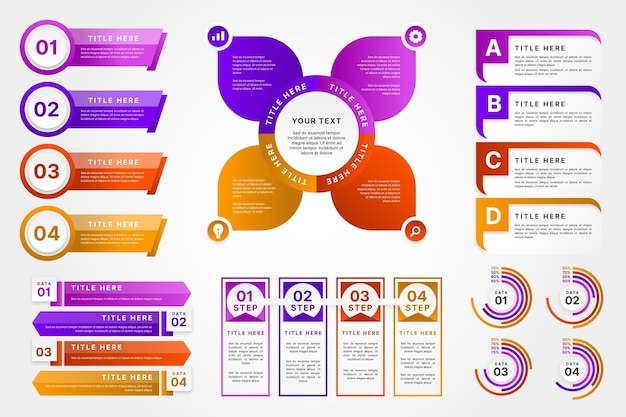 그라데이션 infographic 요소 컬렉션