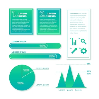 Raccolta di elementi infografica gradiente