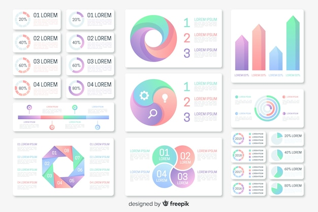 Gradient infographic element collection