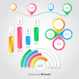 Gradient infographic element pack
