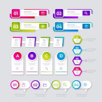 Set di elementi infografica sfumata