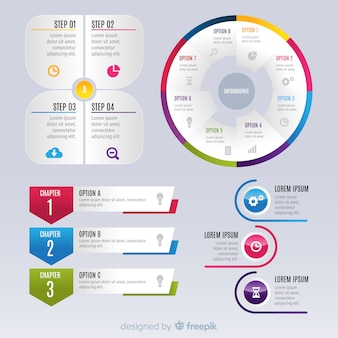 Gradient infographic elements collectio