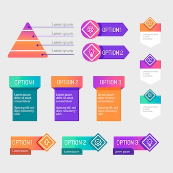 Gradient infographic elements collection