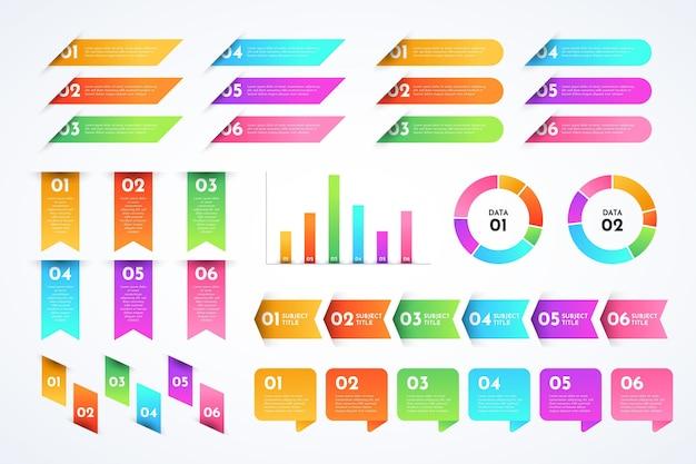 Collezione di elementi infografici sfumati