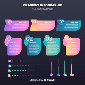 Gradient infographic elements