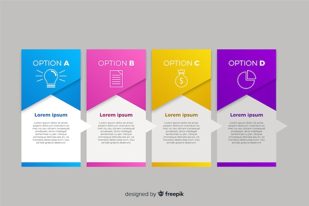 Gradient infographic pages with icons