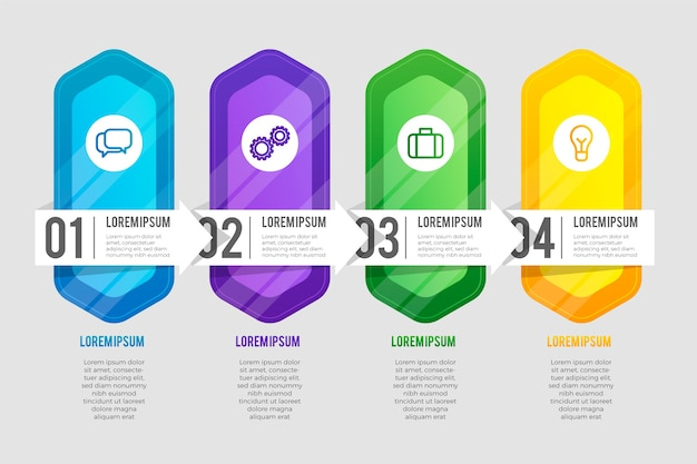 Gradient infographic set of steps