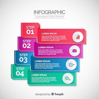 Концепция градиента инфографики шаги