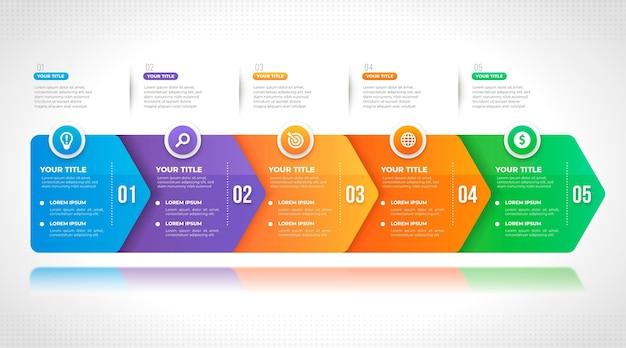 Градиентный дизайн инфографики шагов