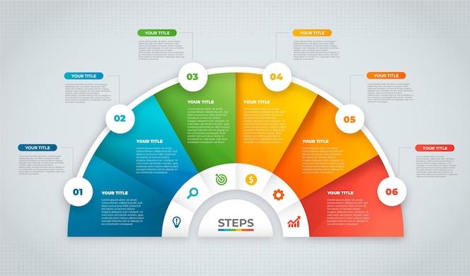 グラデーションインフォグラフィックステップデザイン