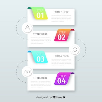 Gradient infographic steps template