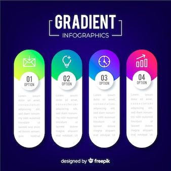 Gradient infographic steps