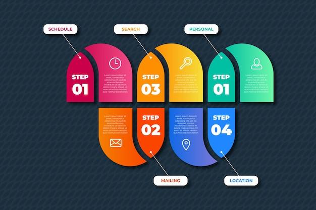 Gradient infographic steps