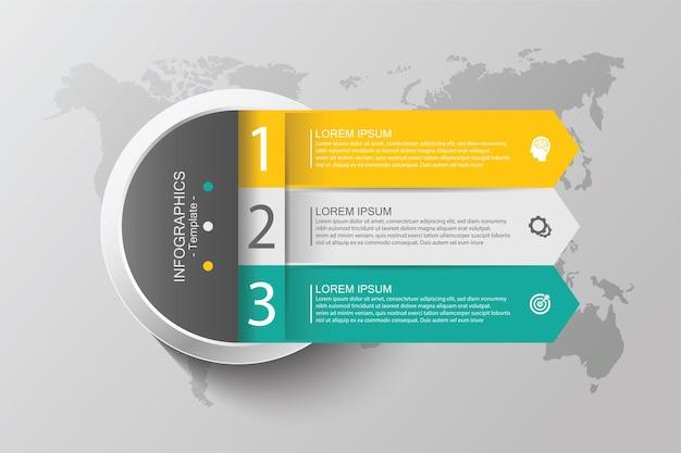 Градиент инфографики шаблон круга с тремя шагами