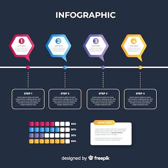 Gradient infographic template flat style