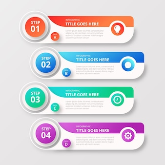 Gradient infographic template with steps