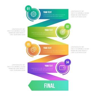 Gradient infographic template in zig zag