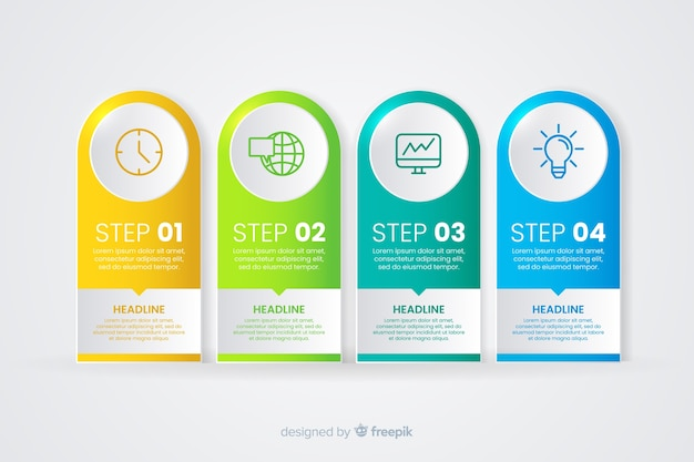 Gradient infographic with different steps