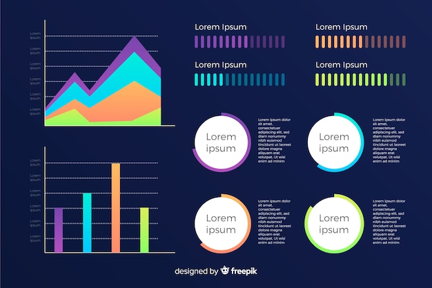 Gradient infographic with diverse geometrical shapes