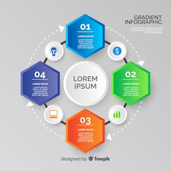 Gradient infographic with hexagon shapes
