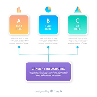 Gradient infographic with hierarchy diagram