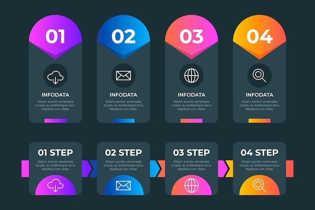 Infografica gradiente con numeri e testo