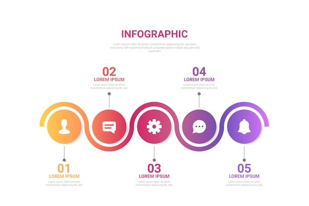 Gradient infographic with steps