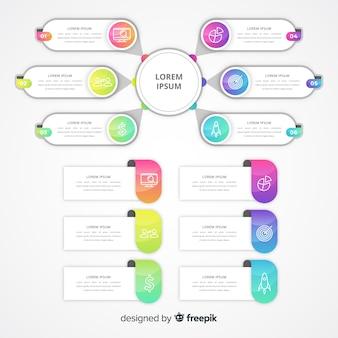 Градиент инфографики с текстовыми полями