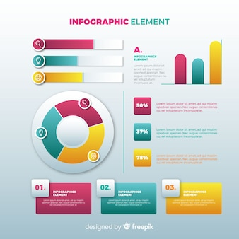 Gradient infographics elements collection