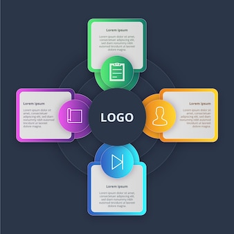 グラデーションインフォグラフィックテンプレートデザイン