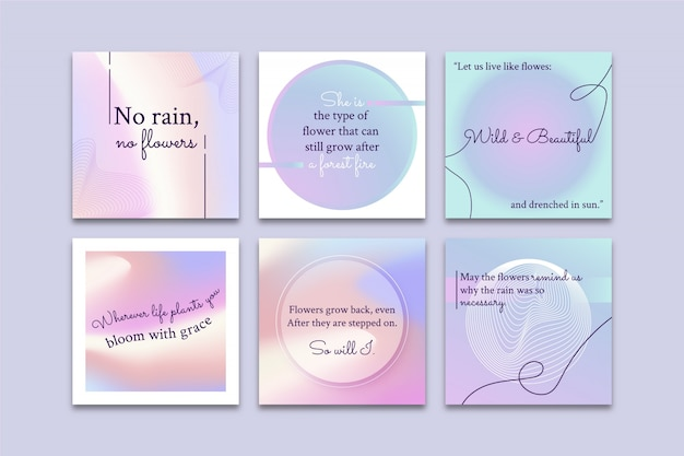Gradient inspirational quotes instagram post collection