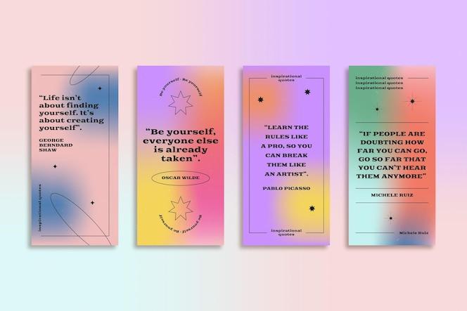 Коллекция историй инстаграм градиентных вдохновляющих цитат