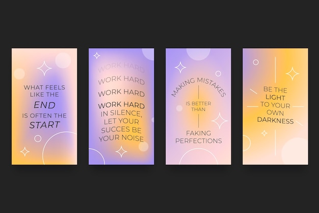 Gradient inspirational quotes instagram story collection