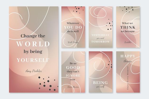 Raccolta di storie di instagram con citazioni ispiratrici gradiente