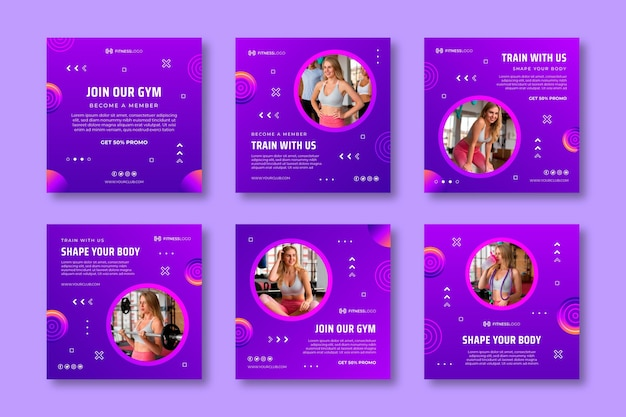 Gradient instagram posts collection for gym training