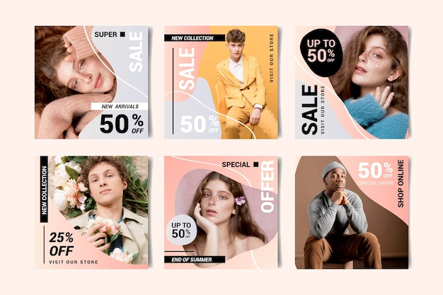 Gradient instagram sale posts collection with photo
