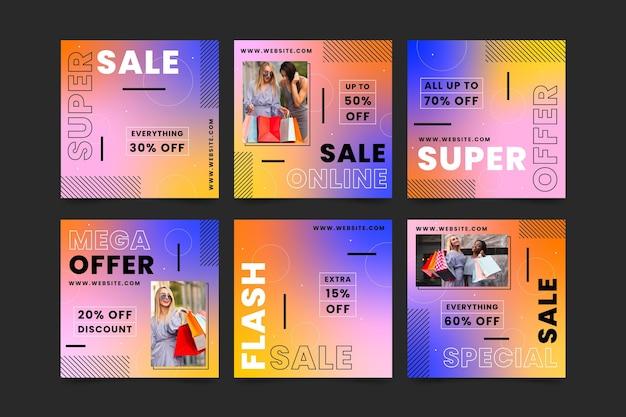 Коллекция сообщений о продаже градиентных instagram