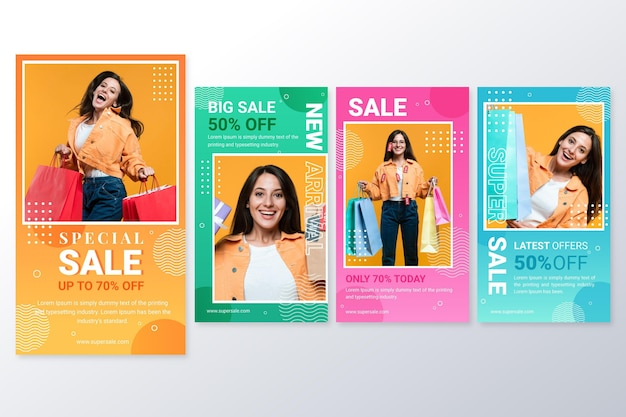 Gradient instagram sale stories collection with photo