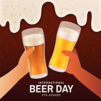 Gradient international beer day illustration Free Vector