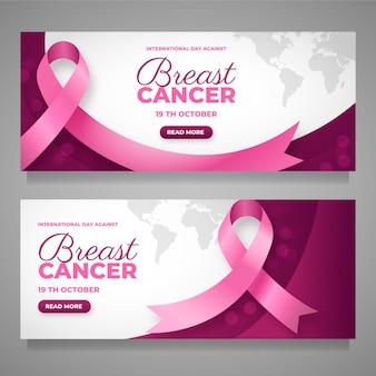 Set di banner orizzontali per la giornata internazionale del gradiente contro il cancro al seno