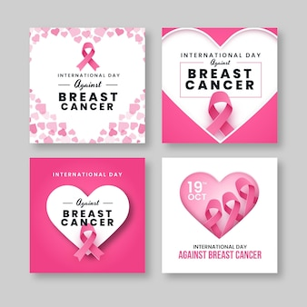 Gradient international day against breast cancer instagram posts collection